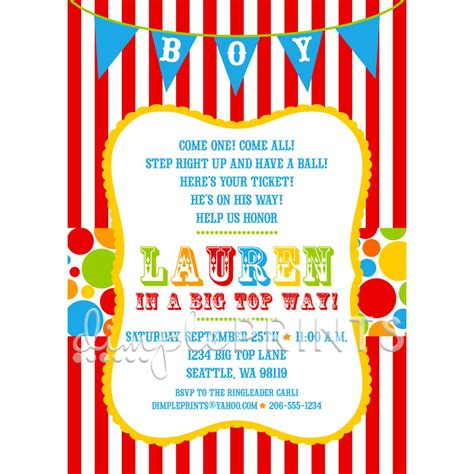 carnival themed invitations templates free circus carnival shower invitation dimple prints shop