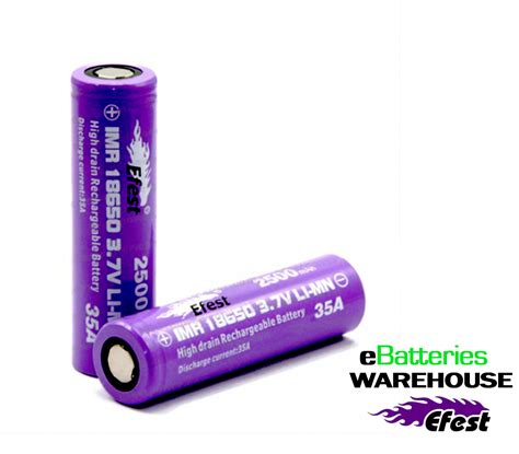 Efest Purple Imr 18650 Li Mn Battery 3 7v 30a efest imr 18650 2500 mah 3 7v li mn high drain rechargeable battery flat top purple 35 s