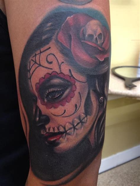 lubbock tattoo new tat dia de la muerte done by mike diaz