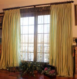 Pistachio Taffeta Drapes with Green Olive Sheers   Modern   Curtains   other metro   by
