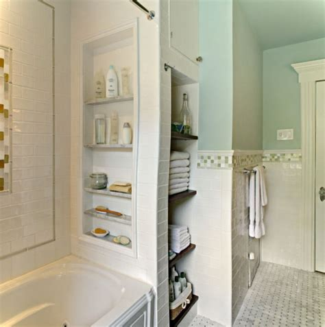 Bathroom Towel Storage Units Simple Small Bathroom With Built In Storage Unit And White Bath Tub Bathroom Ideas