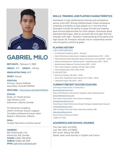 Soccer Resume Template by Player Profile Gabriel Milo College Sports Recruiting
