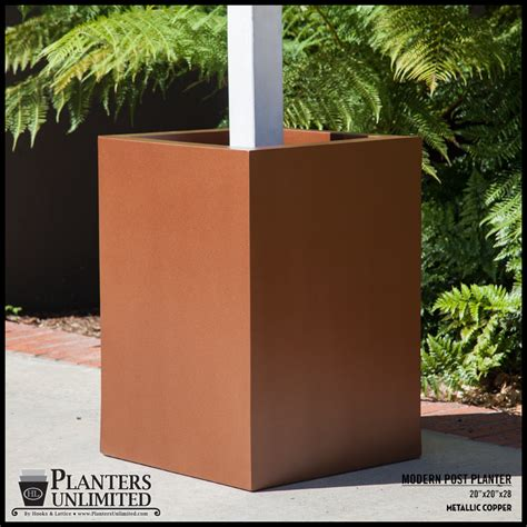 L Post Planter by Modern Square Fiberglass Post Planter 30in L X 30in W X 30in H