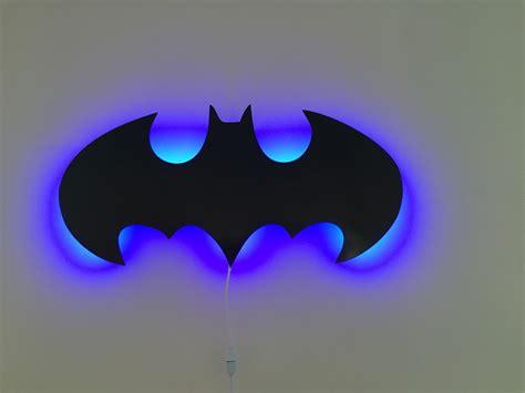 batman logo 3d led wall light bedroom comic shop dc