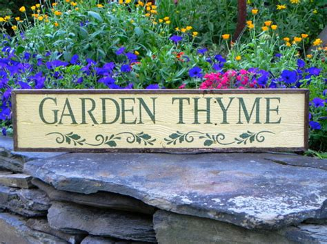 Garden Signs by Garden Thyme Sign Garden Decor Handmade Wood By Crowbardsigns