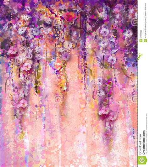 abstract pink  violet color flowers watercolor