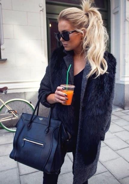 coat hair style photos coat scarf bag celine bag celine black bag black coat