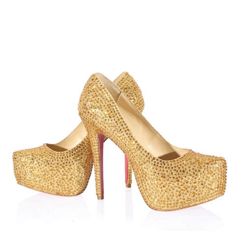 high heel closed toes rhinestone platform gold shoes for