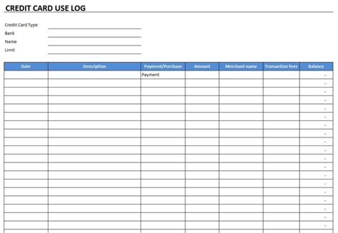 Credit Card Spreadsheet Template credit card use log template free excel templates and