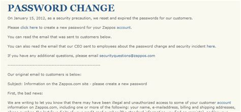 password change email template a zappos account 4 steps to take now with lastpass