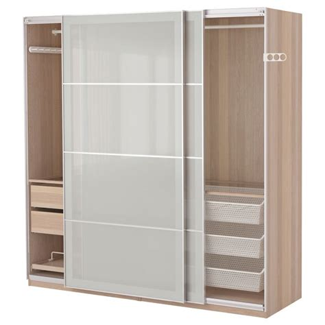 ikea bedroom closets pax wardrobe white stained oak effect sekken frosted glass