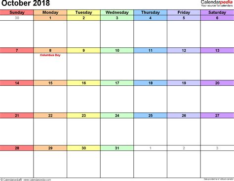 october  calendar templates  word excel