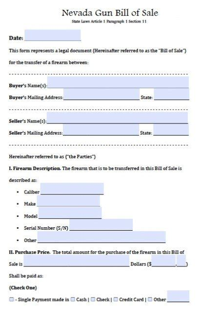 Agreement Of Sale Template For A Vehicle free nevada firearm gun bill of sale form pdf word doc
