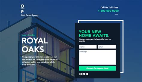 Real Estate Website Templates Business Wix One Page Real Estate Website Templates