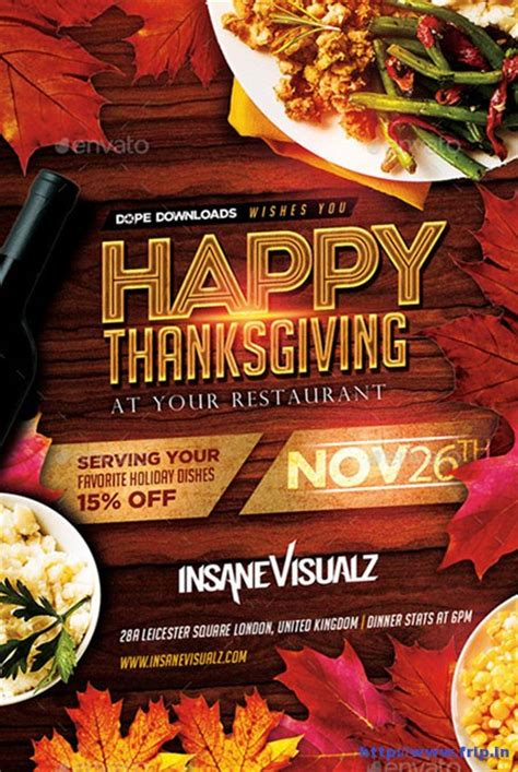 100 Best Thanksgiving Party Flyers Print Templates 2016 Frip In Thanksgiving Flyer Template Free