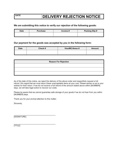 Rejection Of Purchase Order Letter Delivery Rejection Notice Template Sle Form Biztree
