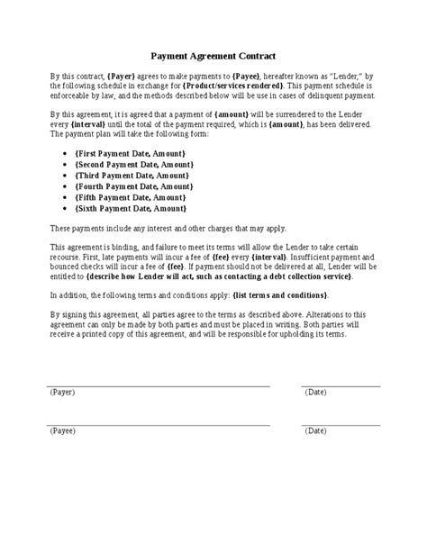 payment agreement templates word excel formats