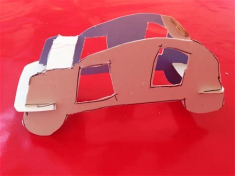 How To Make A 3d Car Out Of Paper - 3d cardboard car my kid craft