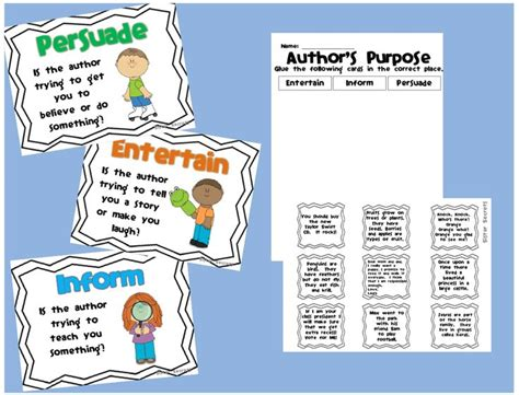 a s purpose free free 2nd grade cut and paste author s purpose myideasbedroom