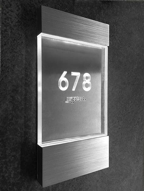 Lighted Clear Room Number Sign Luxello
