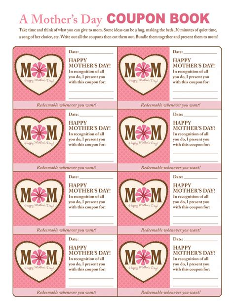 s day coupon book ideas early play templates mothers day coupons