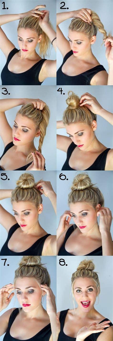 hairstyles buns tutorials hair tutorial top knot bun trenzas pinterest hair