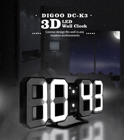 digoo dc  multi function large  led digital wall clock