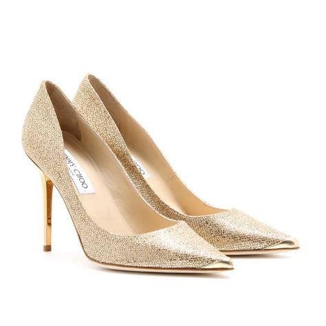 gold shoe jimmy choo abel glittercoated leather pumps in gold lyst