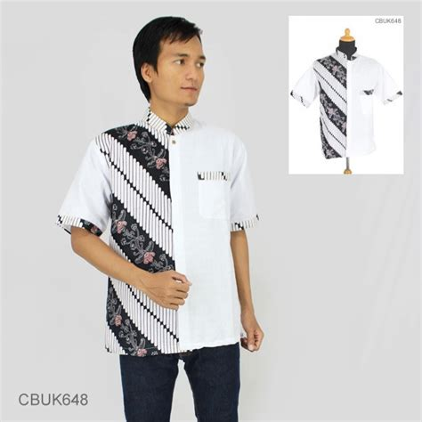 Kemeja Lengan Pendek Stik Balik kemeja batik koko motif kembang parang stik putih kemeja