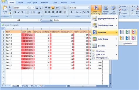 format microsoft excel 2007 applying specialized conditional formatting using data