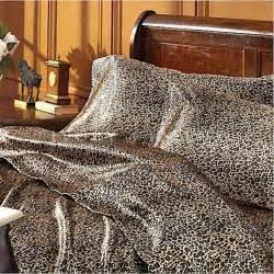 Leopard Bed Sets Satin Sheet Set Size Leopard Animal Print Luxury Silk Feel Bedding Ebay