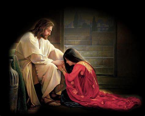 imagenes de jesus con una mujer habitando al abrigo del altisimo perfume a los pies de