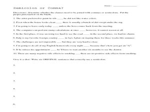comma or semicolon semicolon or comma worksheet for 4th 6th grade lesson