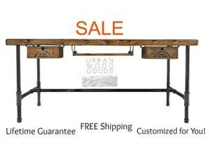 Modern wood desk with steel legs made of by urbanwoodgoods on etsy