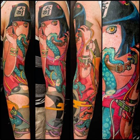 anime tattoo sleeve colored anime on sleeve by macdonald