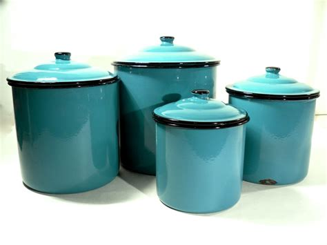 enamel storage canister set retro kitchen turquoise blue