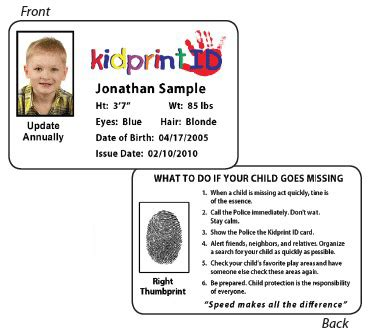child identification card template child identification systems