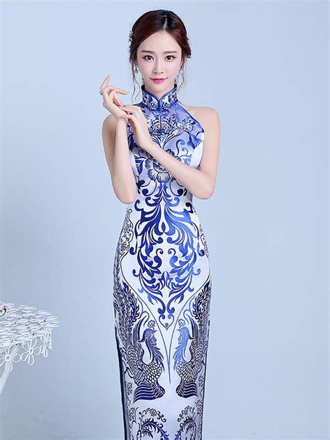 Baju Dress Lq 10 Cheongsam Maron blue floral halter qipao cheongsam prom dress with split cozyladywear