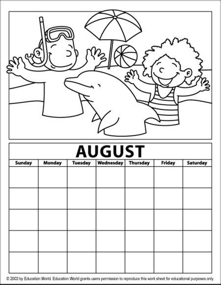 printable calendar education world artistic august calendar education world