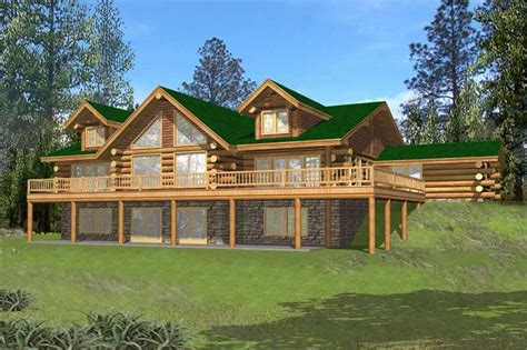 Ranch House Plans With Walkout Basement Log Homeplans Log Home Design Ghd 1068 15638