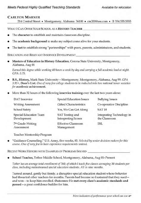 resume exle for teaching