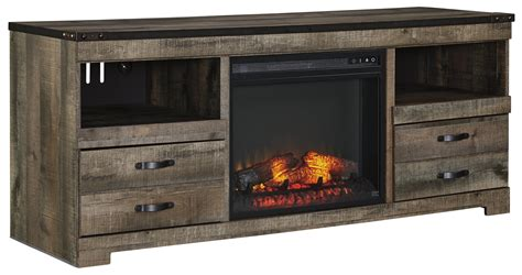 cabinet for fireplace insert signature design by trinell rustic large tv stand