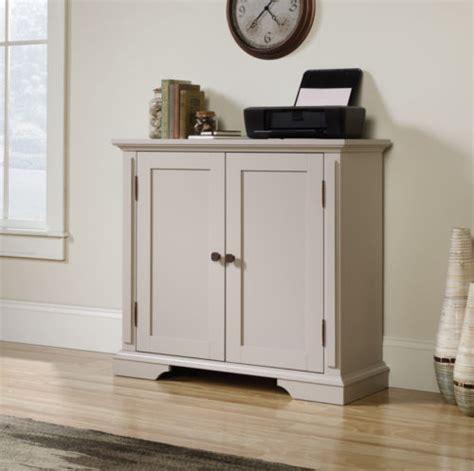 accent storage cabinet cobblestone white  coffee oak