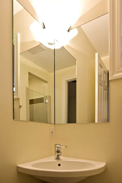 Bathroom Artwork Ideas by Corner Sink And Corner Mirror In Small Bathroom