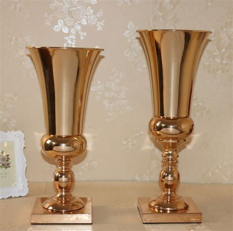 wholesale beautiful tall metal flower vase Gold paited
