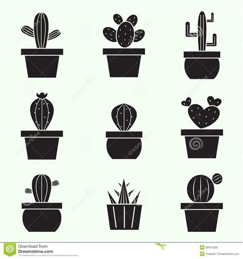 Cute Cactus Pots set of vector cactus icons stock vector image of flora