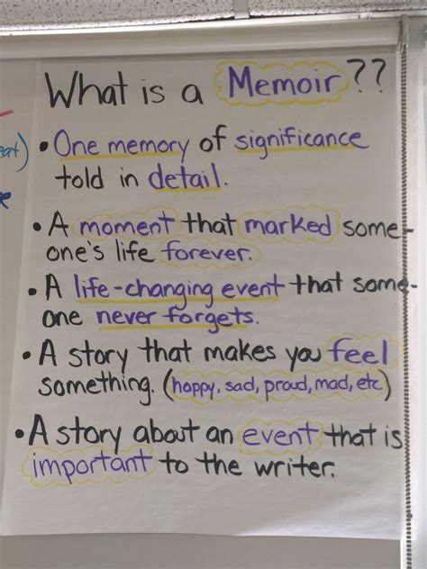 characteristics of biography autobiography and memoir what is a memoir anchor chart writers workshop ela