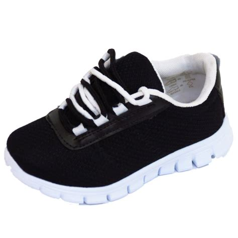 sports shoes for flat boys childrens black school trainers lace flat