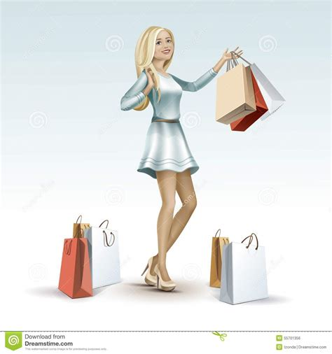 Chic Computer Chip Hair The Bag by The Silhouette Of A With Shopping Bags Vector