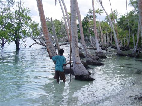 boat rs near disappearing island five solomon islands completely gone as sea level rises